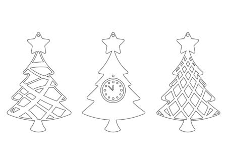 Set of Modern Christmas Tree. New Years Toy for laser cutting. Vector illustration.
