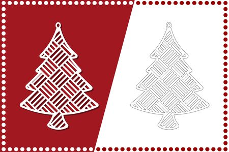 Modern Christmas tree. New Years Toy for laser cutting. Vector illustration.