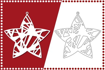 Modern Christmas Star. New Years Toy for laser cutting. Vector illustration.