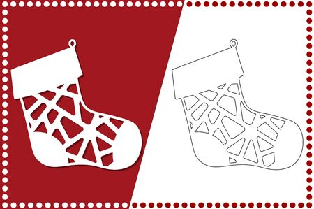 Modern Christmas sock. New Years Toy for laser cutting. Vector illustration.