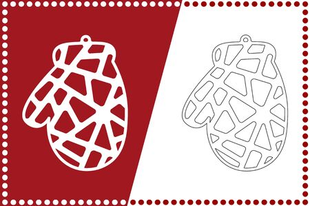 Modern Christmas mitten ball. New Years Toy for laser cutting. Vector illustration.
