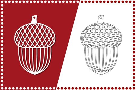 Modern Christmas Acorn. New Years Toy for laser cutting. Vector illustration.