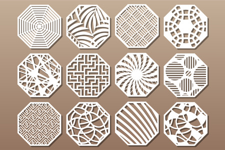 Set decorative circle card for cutting. Round Abstract geometric linear pattern. Laser cut. Vector illustration.