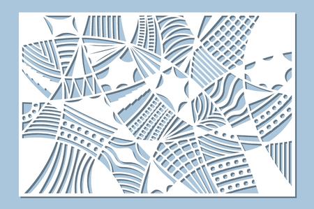 Set decorative card for cutting. Doodle line pattern. Laser cut panel. Ratio 2:3. Vector illustration.