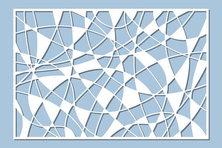 Set decorative card for cutting. Mosaic line pattern. Laser cut panel. Ratio 2:3. Vector illustration.