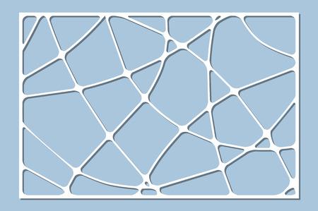 Set decorative card for cutting. Wave linear pattern. Laser cut panel. Ratio 2:3. Vector illustration. Çizim