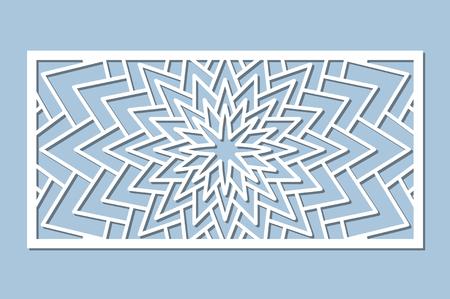 Set decorative card for cutting. Geometry, line, flower pattern. Laser cut panel. Ratio 1:2. Vector illustration.