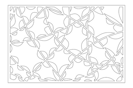 Set decorative card for cutting. Abstract linear pattern. Laser cut panel. Ratio 2:3. Vector illustration.
