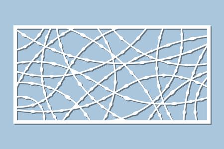 Set decorative card for cutting. Drop line pattern. Laser cut panel. Ratio 1:2. Vector illustration.