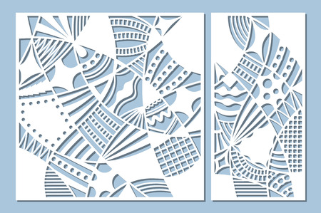 Set decorative card for cutting. Doodle line pattern. Laser cut panel. Ratio 1:1, 1:2. Vector illustration.