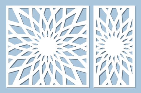 Set decorative card for cutting. Geometry, line, flower pattern. Laser cut panel. Ratio 1:1, 1:2. Vector illustration. Illustration