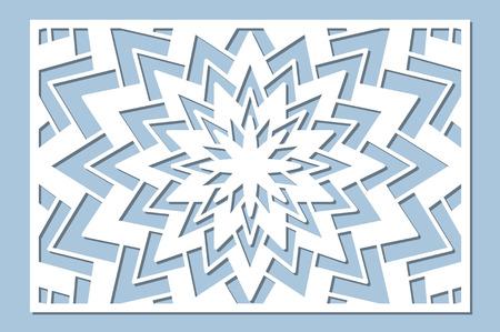 Set decorative card for cutting. Geometry, line, flower pattern. Laser cut panel. Ratio 2:3. Vector illustration. Illustration