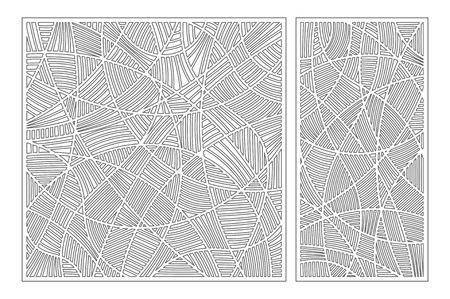 Set decorative card for cutting. Mosaic line pattern. Laser cut panel. Ratio 1:1, 1:2. Vector illustration.