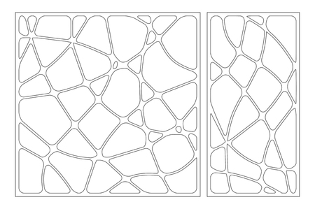 Set decorative card for cutting. Wave linear pattern. Laser cut panel. Ratio 1:1, 1:2. Vector illustration.