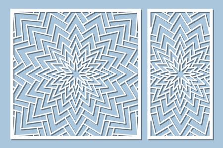 Set decorative card for cutting. Geometry, line, flower pattern. Laser cut panel. Ratio 1:1, 1:2. Vector illustration. Çizim