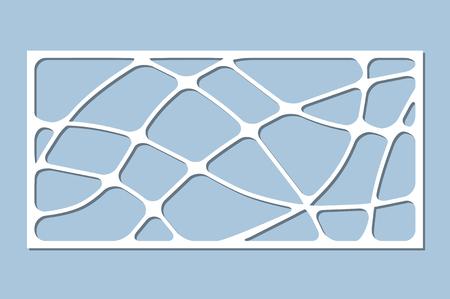 Set decorative card for cutting. Wave linear pattern. Laser cut panel. Ratio 1:2. Vector illustration. Illustration