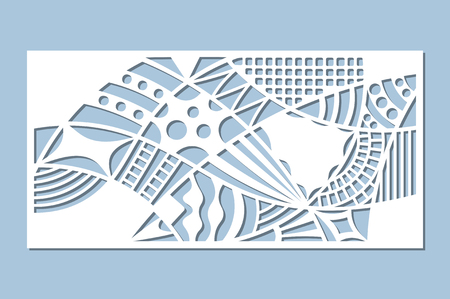 Set decorative card for cutting. Doodle line pattern. Laser cut panel. Ratio 1:2. Vector illustration. Illustration