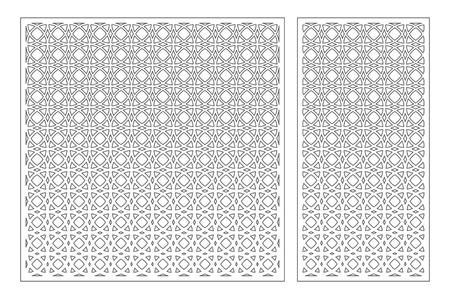 Set decorative card for cutting. Arabesque pattern. Laser cut panel. Ratio 1:1, 1:2. Vector illustration. Çizim