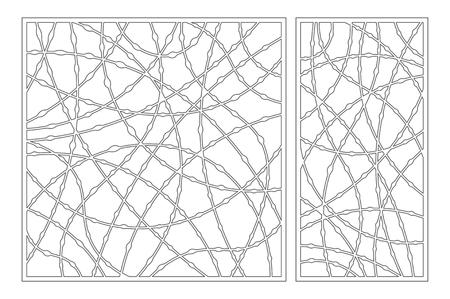 Set decorative card for cutting. Drop line pattern. Laser cut panel. Ratio 1:1, 1:2. Vector illustration.