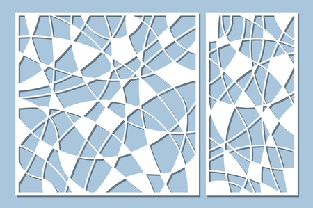 Set decorative card for cutting. Mosaic line pattern. Laser cut panel. Ratio 1:1, 1:2. Vector illustration.