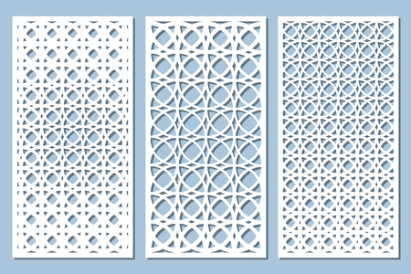 Définir une carte décorative pour la coupe. Motif arabesque. Panneau découpé au laser. Rapport 1:2. Illustration vectorielle. Vecteurs