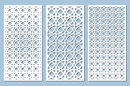 Establecer tarjeta decorativa para cortar. Patrón arabesco. Panel cortado con láser. Proporción 1: 2. Ilustración de vector. Ilustración de vector