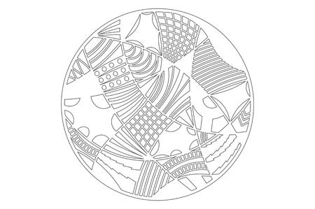Set decorative circle card for cutting. Doodle line pattern. Laser cut panel. Vector illustration. Çizim