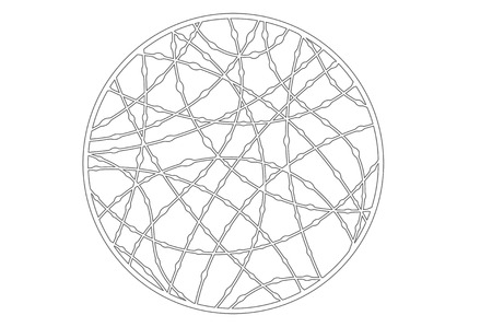 Set decorative circle card for cutting. Drop line pattern. Laser cut panel. Vector illustration.