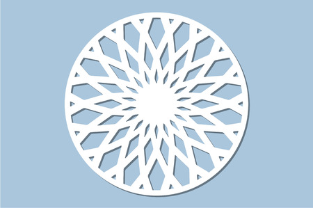 Set decorative circle card for cutting. Geometry, line, flower pattern. Laser cut panel. Vector illustration.