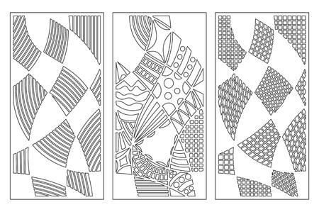 Set decorative card for cutting. Doodle line pattern. Laser cut panel. Ratio 1:2. Vector illustration. Çizim