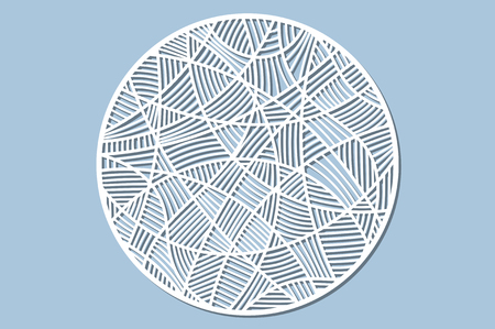 Set decorative circle card for cutting. Mosaic line pattern. Laser cut panel. Vector illustration.