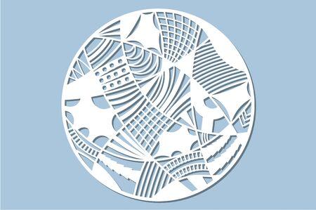 Set decorative circle card for cutting. Doodle line pattern. Laser cut panel.  Vector illustration. Illustration