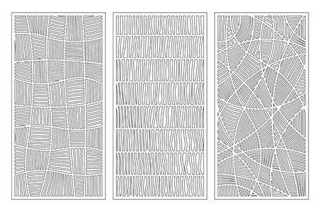 Establecer tarjeta decorativa para cortar. Patrón de línea de mosaico. Panel cortado con láser. Proporción 1: 2. Ilustración vectorial. Ilustración de vector