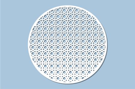Set decorative circle card for cutting. Arabesque pattern. Laser cut panel. Vector illustration.