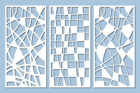 Set decorative card for cutting. Mosaic line pattern. Laser cut panel. Ratio 1:2. Vector illustration.
