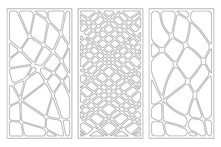 Set decorative card for cutting. Wave linear pattern. Laser cut panel. Ratio 1:2. Vector illustration. Çizim