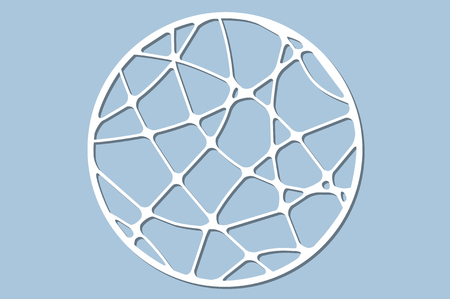 Set decorative circle card for cutting. Wave linear pattern. Laser cut panel. Vector illustration.