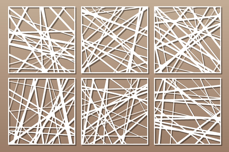 Set decorative card for cutting. Abstract linear pattern. Laser cut panel. Ratio 1:1. Vector illustration. 矢量图像