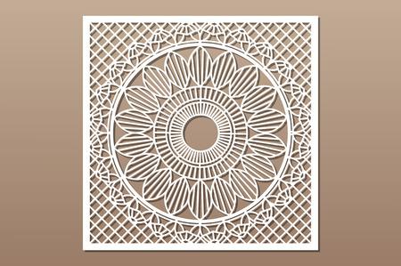 Tarjeta decorativa para cortar. Patrón de mandala de línea de geometría. Panel cortado con láser. Relación 1: 1. Ilustración de vector. Ilustración de vector