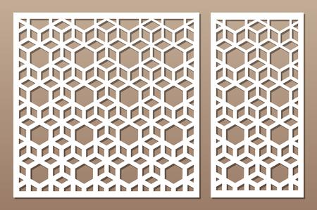 Laser cut panel. Decorative card for cutting. Arabic, line art pattern. Ratio 1:2, 1:1. Vector illustration.