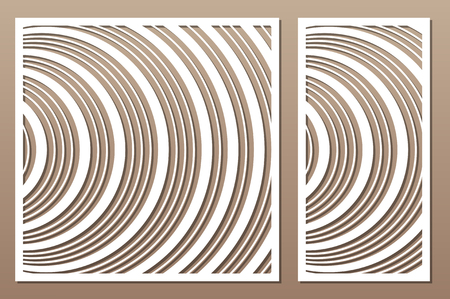 Laser cut panel. Set decorative card for cutting. Geometric Wave pattern. Ratio 1:2, 1:1. Vector illustration.