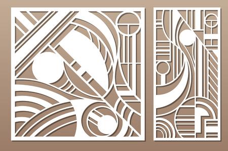 Laser cut panel. Set decorative card for cutting. Geometry line art pattern. Ratio 1:2, 1:1. Vector illustration.