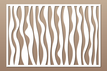Laser cut panel. Decorative card for cutting. Abstract lines art geometry pattern. Ratio 2:3. Vector illustration.