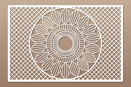 Decorative card for cutting. Geometry line mandala pattern. Laser cut panel. Ratio 2:3. Vector illustration. 일러스트