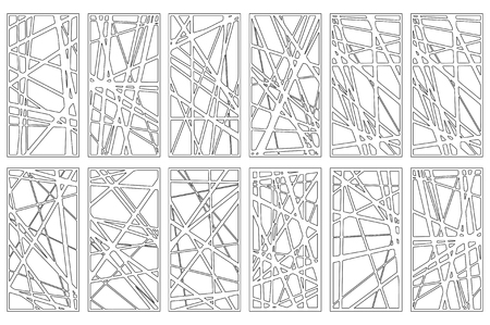 Set decorative card for cutting. Abstract linear pattern. Laser cut panel. Ratio 1:2. Vector illustration.