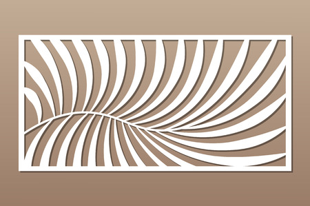Decorative card for cutting. Fern palm pattern. Laser cut panel. Ratio 1:2. Vector illustration. 일러스트