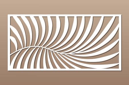 Tarjeta decorativa para cortar. Patrón de palma de helecho. Panel cortado con láser. Proporción 1: 2. Ilustración vectorial. Ilustración de vector