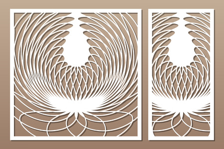 Laser cut panel. Set decorative card for cutting. Abstract circle pattern. Ratio 1:2, 1:1. Vector illustration.