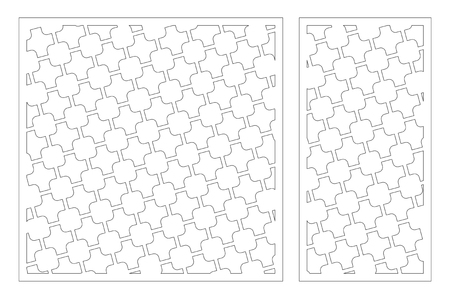Laser cut panel. Set decorative card for cutting. Geometric square pattern. Ratio 1:2, 1:1. Vector illustration. 일러스트