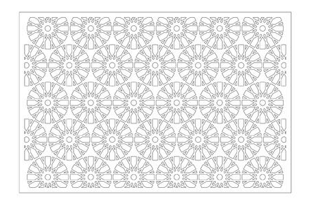 Laser cut panel. Decorative card for cutting. Flower, Arabic, line art pattern. Ratio 2:3. Vector illustration.